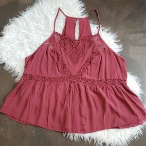 Forever 21+ Rasberry tank with lace inset 1X